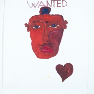 Primo Indian col cuore su carta (First Indian with heart on paper) 2010 Oilio su carta, oil on paper 135x150cm